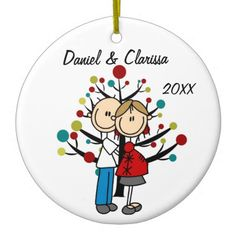Expectant Couple Custom Holiday Ornament -- #Pregnant -- to see more #HolidayOrnaments from this designer go to http://www.zazzle.com/christmasshop/gifts?cg=196495299334917642&rf=238656250999501047&tc=PinPODShoppers
