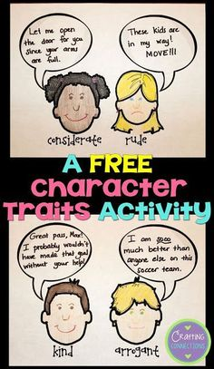 """Check out these FREE character trait activities! This blog post contains a character traits anchor chart and an idea for a character trait lesson where students learn more challenging character trait vocabulary to create a collaborative class book! If you want students to move beyond """"nice"""" and """"mean"""" character trait responses, check this out!"""