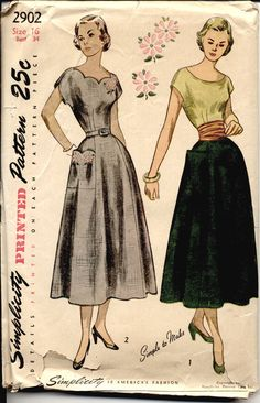 Love the scalloped neckline!  Vintage Simplicity 2902 Misses 1940s Dress Pattern Scalloped Neckline with Embroidery 6 Gored Skirt Swing Era Womens Vintage Sewing Pattern  via Etsy.