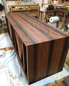 I have been traveling to visit family in New Jersey  so I have not made much progress on the credenza in the last two weeks.  Such is life.  This is a spec piece so I don't feel the pressures of meeting a Client deadline but that should not allow me to slack because the next opportunity is likely right around the corner.  The pic shows the case after 1 coat of Watco danish oil.  My top coats will be a wipe-on product of some kind.  Can't wait to get this done and out to a gallery or show…