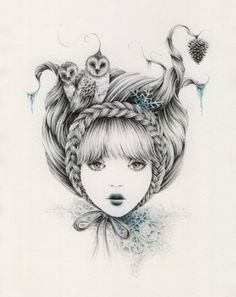 braid, courtney brims, drawing, face, fairytale, girl - inspiring picture on Favim.com