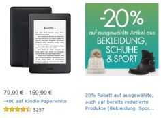 Amazon: 20 Prozent Rabatt auf bereits reduzierte Kleidung und Schuhe https://www.discountfan.de/artikel/klamotten_&_schuhe/amazon-20-prozent-rabatt-auf-bereits-reduzierte-kleidung-und-schuhe.php Noch bis Mitternacht gibt es bei Amazon einen Rabatt von 20 Prozent auf ausgewählte Artikel der Rubriken Bekleidung, Schuhe und Sport. Interessant dabei: Auch bereits reduzierte Ware wird nochmals verbilligt. Amazon: 20 Prozent Rabatt auf bereits reduzierte Kleidung und Schuhe (Bil