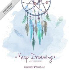 Watercolor cute background with dream catcher  Free Vector
