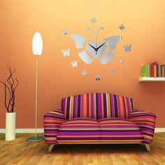 DIY 3d vuelo mariposa pared reloj espejo acrílico decoración para el hogar
