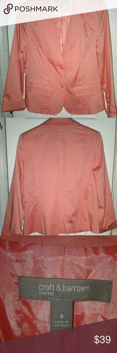 New Croft & Barrow Tulip Pink Blazer Spring Size 8 New with tags ! Croft & Barrow Tulip  Pink Women's Spring Blazer. Two faux flap pockets . Lined. Women's Size 8. Two button front closures. Extra button packet . Smoke free closet . croft & barrow Jackets & Coats Blazers