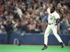 """Joe Carter celebrates his World Series-winning home run on Oct. During the broadcast, Jays play-by-play man Tom Cheek famously said: """"Touch 'em all, Joe! You'll never hit a bigger home run in your life! Toronto Blue Jays, Toronto Star, Men's Toms, Second World, Sports Photos, Funny Stories, World Series, My Passion, Baseball"""
