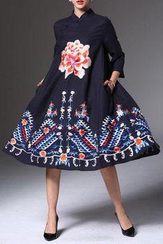 Floral Embroidered Midi Cheongsam Dress