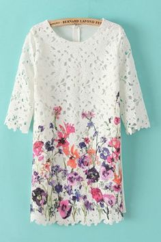 So Pretty! Pink and Purple Floral Wildflowers Print Hollow-out Lace Dress