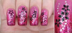 Acetone and Old Lacquer: Orly Preamp, pink glitter gradation & nail art stickers