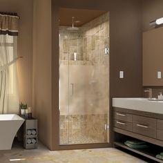 DreamLine Unidoor Plus 35 - 36 in. W x 72 in. H Hinged Shower Door, Half Frosted Glass Door