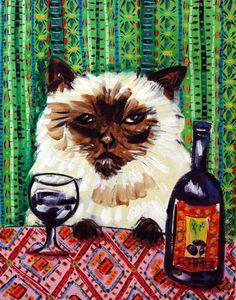 Cat art BURMESE wine art JSCHMETZ pop folk abstract by lulunjay, $17.99