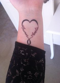My infinity heart tattoo with my kids names symbolising eternal love <3