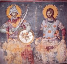 Mercurios and St.Manuel Panselinos,from the holy church of the Protaton at Karyes, Holy Mountain Athos. Byzantine Icons, Byzantine Art, Ancient Greek City, Orthodox Icons, Medieval Art, Sacred Art, Religious Art, Mosaic Art, Artwork
