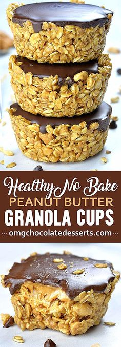 If you are looking for healthy and easy recipes to make ahead and have on hand when you need little boosts of energy these Healthy No Bake Peanut Butter Granola Cups are perfect. ahead snacks, No Bake Peanut Butter Granola Cups Easy Snacks For Kids, Kids Meals, Easy Meals, Quick Snacks, Healthy Baking, Healthy Desserts, Easy Desserts, Healthy Recipes, Healthy Drinks