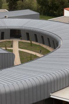 Medical building in Saint Germain Lambron (France) by Trinh et Laudat Contractor : Duche, Copyright : Paul Kozlowski  #QuartzZinc #MedicalBuilding #France #Architecture #Roofing #Roof #Façade #Zinc #VMZINC