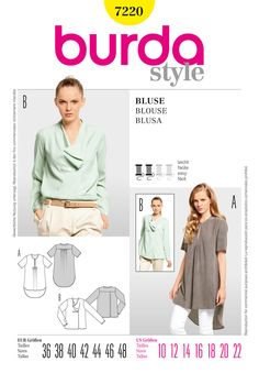 Simplicity : B7220. Diagonal Gathered Front Slit Blouse. Long Round Hemmed Blouse.