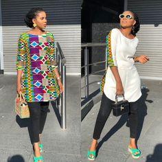 Rosemary African Print kente Ankara and crepe 2 way top/ tunic African Blouses, African Tops, African Shirts, African Women, Ankara Tops Blouses, Africa Fashion, African Print Fashion, African Print Top, Tribal Fashion