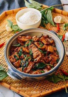 Thai Basil Pork Belly (15 Min Recipe) | The Woks of Life Thai Basil Pork, Thai Basil Recipes, Asian Recipes, Hawaiian Recipes, Asian Foods, Vietnamese Recipes, Wok Of Life, Pork Belly Recipes, Beef Recipes