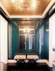 Lacquered walls, silver leaf ceiling and a funky light! Butlers pantry