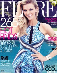 Who made Brooklyn Decker's blue print dress and jewerly that she wore on the cover of Flare magazine? Shirt and skirt – Peter Pilotto  Bracelets – Jennifer Fishe  Ring – M.C.L. by Matthew Campbell Laurenza