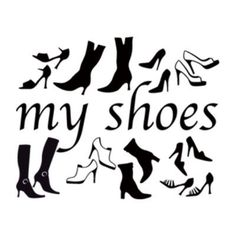 "Style and Apply My Shoes Wall Decal Size: 38"" H x 46"" W, Color: Dark Red"