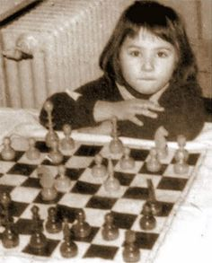 Zsuzsa Polgar (now Susan Polgar from a Hungarian jewish family) at the age of 4: Beating up some seasoned players at the Budapest Chess Club. She learned the game six months before this event in 1973. When she turned 16, she became the first female grandmaster of chess. Currently, in 2013 her world ranking is 8. She beat about every chess master, including Bobby Fisher and Gary Kasparov.
