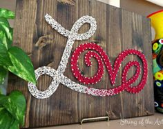 """DIY String Art Kit - Valentines Day Love Sign - Save 10% off all Etsy purchases at the String of the Art shop by using the coupon code """"PinLove"""""""