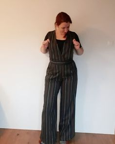 Meet this great #akracheljumpsuit, a pattern test of @akpatterns made in this beautiful wool fabric of @studiojurk 💛. . I love the flared… Wool Fabric, Striped Pants, Trousers, Jumpsuit, Striped Tights, Pants, Overalls, Stripped Pants, Monkey