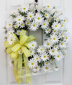 CUSTOM ORDER for Alesia Bonner, Daisy Grapevine Wreath, Summer Daisy Wreath, Daisy Wreath, Front Door Daisy Wreath, Front Door Wreath by WruffleWreathsbyLana on Etsy