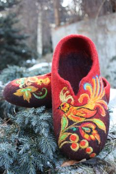 "Exquisite felted slippers ""Fairy Tale"" by Irina on etsy (a whole shop full of stunning hand felted items): http://www.etsy.com/shop/IrinaU"