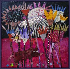 Elke Trittel - acrylic collage on board Art Floral, Art And Illustration, Modern Art, Contemporary Art, Art Du Collage, Creation Art, Art Textile, Inspiration Art, Naive Art