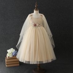 16f631b8632 Girls evening flower princess party dresses children wedding lace dress  performance long tutu clothing Kids Party