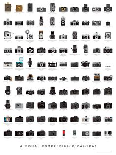 A Visual Compendium of Cameras - A meticulously illustrated catalog of 100 landmark cameras, culled from over a century of photographic history, depicting both professional and consumer models and tracing photography's history from the first models to today's digital wonders.