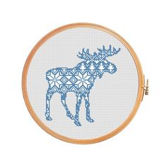 Christmas moose nordic pattern - cross stitch pattern - elk traditional pattern ornament merry christmas decoration reindeer Scandinavian