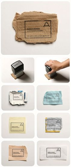 eco-friendly business cards - just a stamp and recycled bits of paper/cardboard. -- awesome.