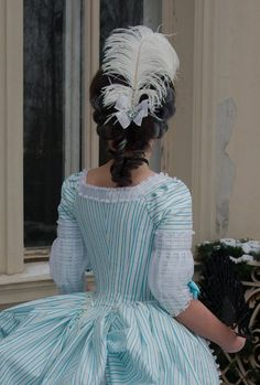 striped polonaise, and the feathers in the hair! striped polonaise, and the feathers in the hair! 18th Century Dress, 18th Century Costume, 18th Century Clothing, 18th Century Fashion, Historical Costume, Historical Clothing, Marie Antoinette, Rococo Fashion, Vintage Fashion