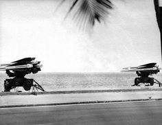 As the Cuban Missile Crisis intensified in October 1962, Army Hawk missiles were stationed on Smathers Beach