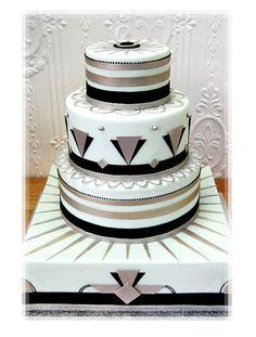 Grey & White Art Deco  Cake