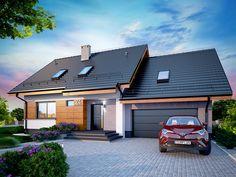 DOM.PL™ - Projekt domu DN Lisandra 2M CE - DOM PC1-60 - gotowy koszt budowy Small Living Room Design, Small House Design, Brick Siding, Facade House, Pool Houses, Exterior Colors, House Rooms, Home Fashion, My House