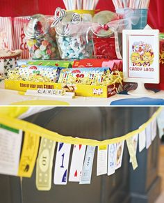 Game Night Decor: Thrift Store Random Game Pieces Garland, Board Game Boxes For Candy Platters & Twister Mat Used as a Table Cloth - Whoa.