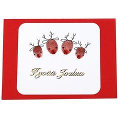 Paina sormi leimasintyynyyn ja sitten valkoiselle Ruska-kartongille. Leimaile näin tarvittavat kuviot. Täydennä leimaillut sormenjälkikuviot piirtämällä Pigma Micron -tusseilla. Koristele akryylitimantein ja ääriviivatarralla. Pyöristä valkoisen kartongin kulmat ja kiinnitä värilliseen korttipohjaan kaksipuolisen liimateipin avulla. Diy Christmas Cards, Xmas Cards, Diy Cards, Christmas Decorations, Diy And Crafts, Stamp, Scrapbook, Xmas, Good Ideas