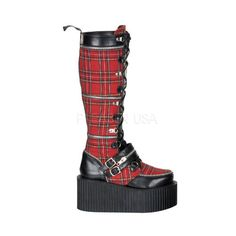 "3 1/4"" Platform Goth Punk Rockabilly Zippered Plaid Creeper Boot $89.95 Great for Clubbing"