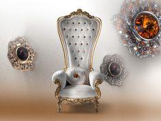 The Throne par Caspani : Un Fauteuil Royal Gold Furniture, Luxury Furniture, Furniture Design, Accent Furniture, Chair Design, Retro Office Chair, Wooden Armchair, Throne Chair, Love Chair