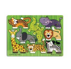 $6.95 Zoo Mix N Match Peg Puzzle By Melissa Doug. 3266 Features: -Mix N Match puzzle encourages creativity.-Twenty percent thicker than standard puzzles.-Designed for easy cleaning.-Ages two years and up. Color/Finish: -Zoo themed colorful artwork. Dimensions: -Overall dimensions: 8.4 H x 11.7 W x .9 D.