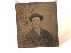 Vintage Antique Tintype Tin Type Photo Photograph Metal Man Gentlemen Suit Hat