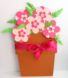 flower pot card (With images) Diy And Crafts, Crafts For Kids, Paper Crafts, Flower Cards, Paper Flowers, Bird Cards, Little Flowers, Mothers Day Crafts, Creative Kids