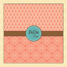 Pink damask digital paper by PeDeDesigns on Etsy