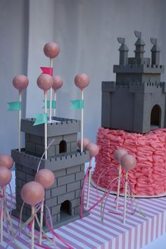 Castle Cake- princess party,easily adaptable to any color scheme or make add dragons and Knights for your little Prince!