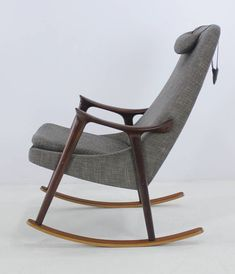 Ingmar relling; Teak and Mahogany Rocking Chair, 1950s.