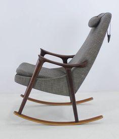 Ingmar relling; Teak and Mahogany Rocking Chair, 1950s.